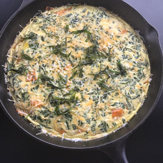 Another shot of the final product -  butternut squash and kale frittata - now up on the blog! #brunch