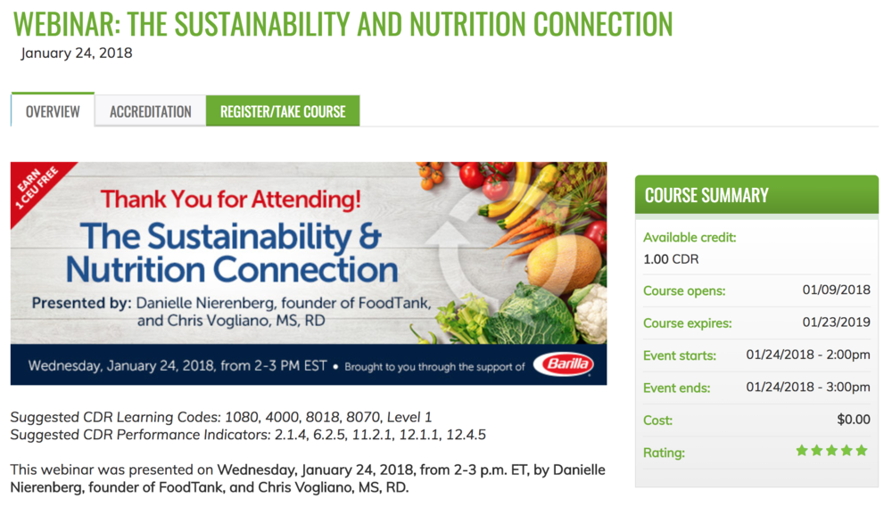 sustainable nutrition webinar barilla food tank