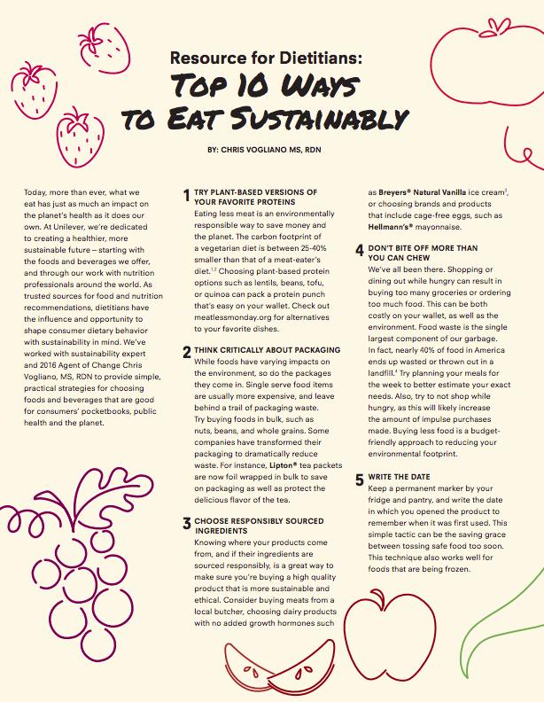 food waste handout dietitian