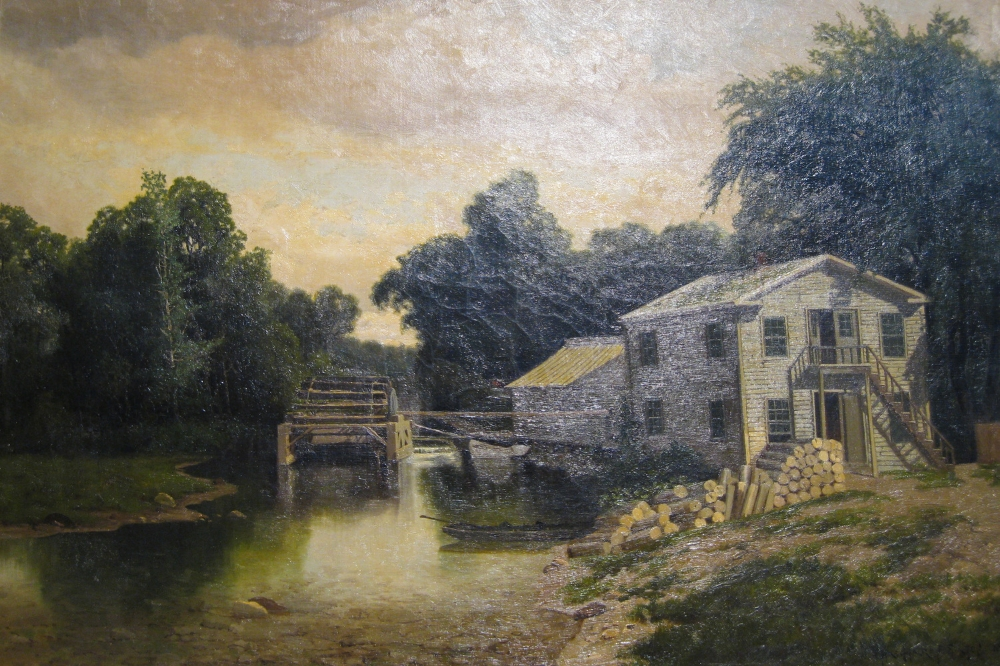 West's Flouring Mill (Charles Harry Eaton), 1881- To paint this oil on canvas painting of West's Flouring Mill, the artist used a style of painting known as tonalism in which landscapes are depicted in soft light, with shadows.  Erastus West (1794-1865), after whom this mill was named, came to Lakeville in 1815 from Pennsylvania. He was a prominent man in the town of Livonia and an inventor by trade.  West was the first to introduce steam to power several of the mills he constructed, including this flour mill on the East side of the Conesus Lake outlet.