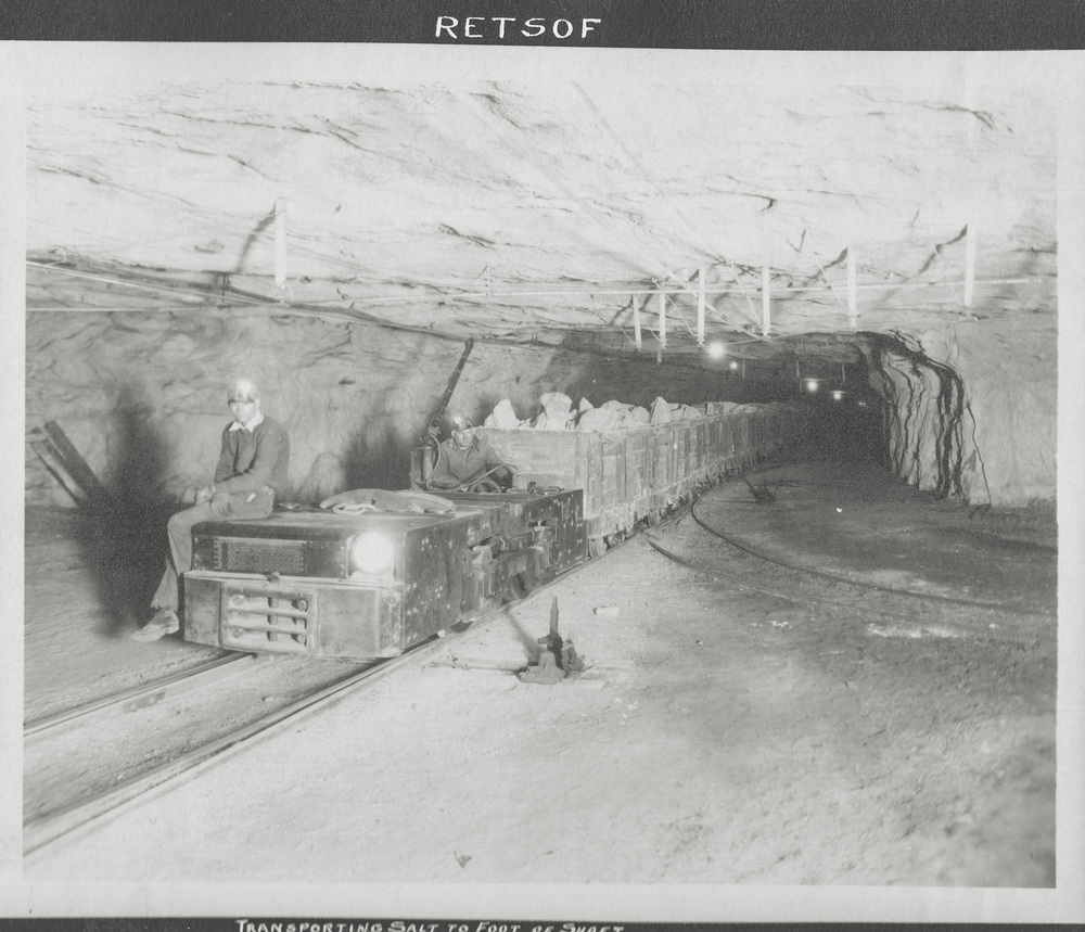 Transporting salt to foot of shaft in the Retsof Salt Mine.