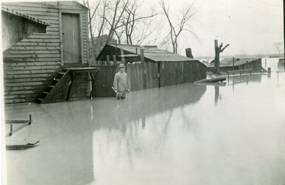 "Flooded lands along the Mt. Morris ""flats"" looking East from the village, 1916. (person unknown). Courtesy of the Office of the Livingston County Historian."