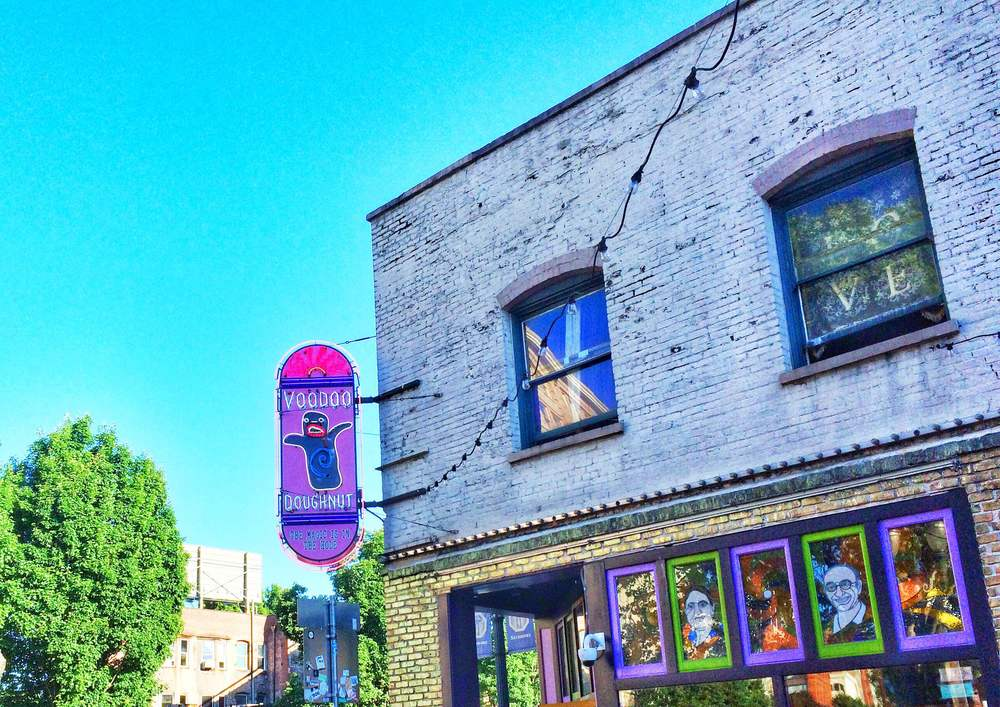 Stopping at a coffee shop before class across from the world famous Voodoo Doughnut.