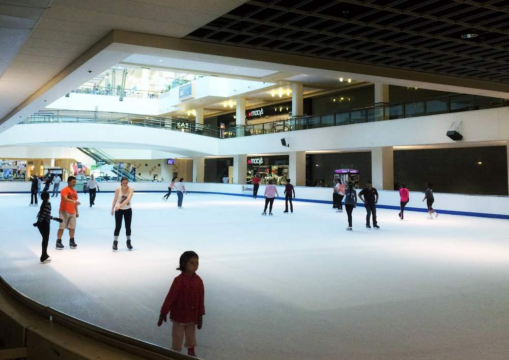 The ice skating rink inside Lloyd Center Mall.