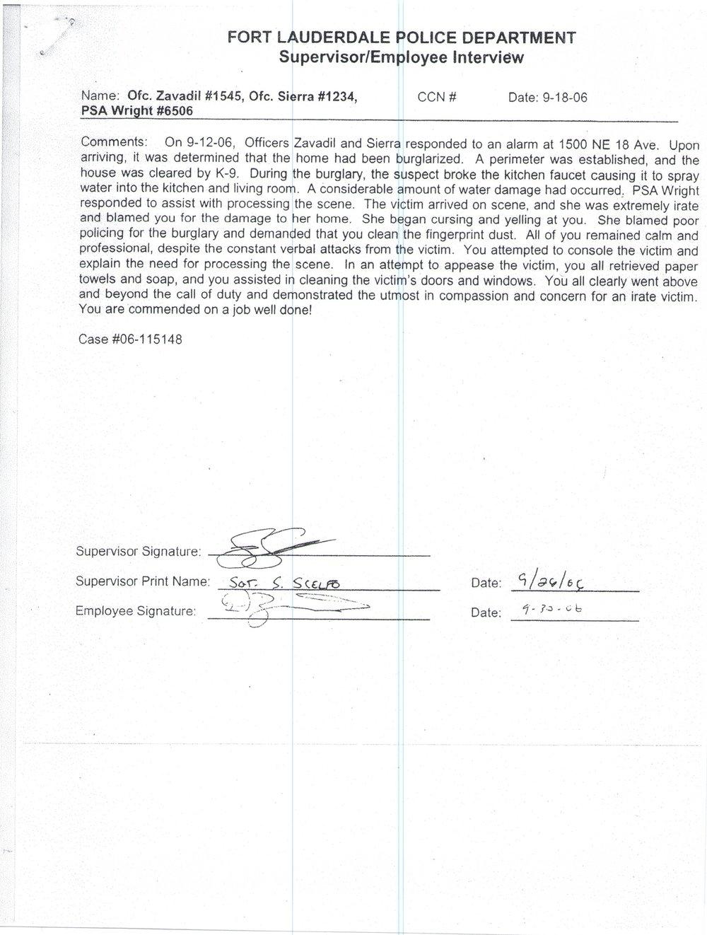 Supervisor Commendation Issued to Dan Zavadil Regarding Burglary Call.jpg