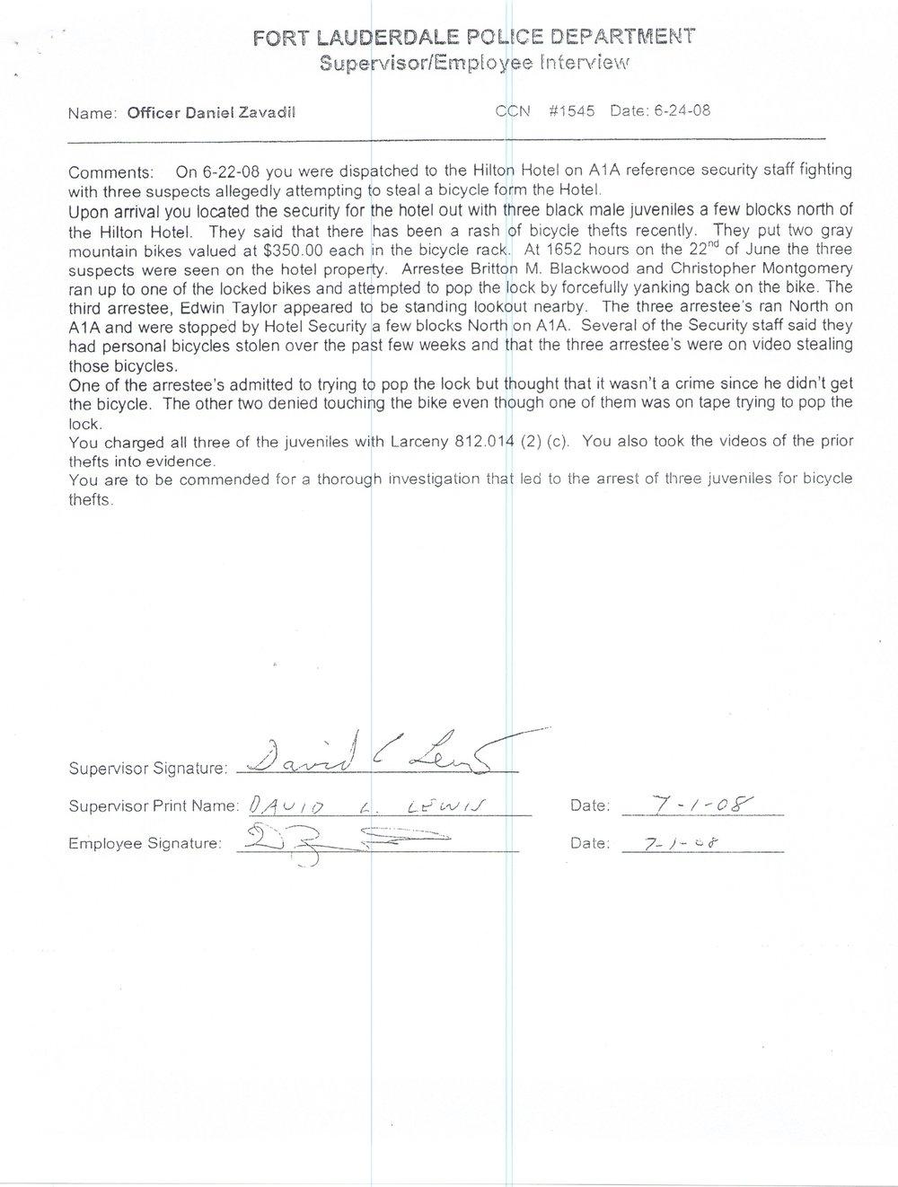 Superivisor Commendation for Arrest of Bike Theives.jpg
