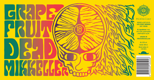Grapefruit Dead label by Mikkeller's Art Director, Keith Shore with assistance from 18th's Creative Director, Joey Potts.