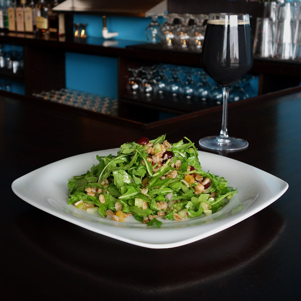 Fruit and Grains Salad: Farro grains, dried cranberries, golden raisins, celery red onion, arugula, citrus vinaigrette. $8
