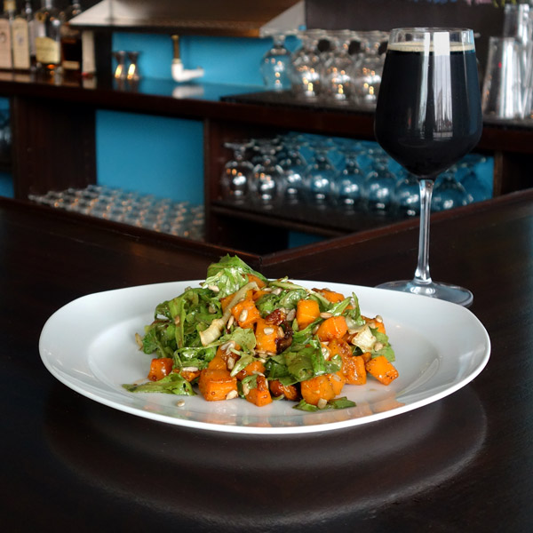 Butternut Squash Salad: Roasted butternut squash and onion, sunflower seeds, arugula, maple mustard vinaigrette. $7