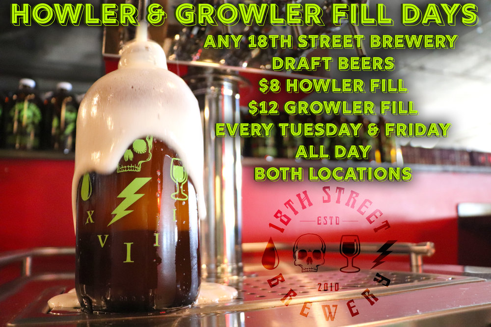 It was a scorcher this weekend, so we know you enjoyed some 18th Street beers. Which means you're probably running low!?!? Fear not friends, we've got you covered! Bring those empty howlers and growlers in today and take advantage of our 'Howler & Growler Fill Days'.  Any of our 18th Street Brewery beers that we've got on draft will be available to fill in howlers ($8) and growlers ($12). This deal runs all day, every Tuesday and Friday at both our Hammond Brewpub and Miller Taproom locations.  #18thstreetbrewery   #drinklocal   #drinkindiana   #drinkcraftbeer   #howlers  #growlers   #beertogo   #drinkhereindy   #craftbeer   #drinkIN