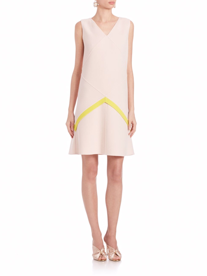 Oscar de la Renta color blocked shift dress