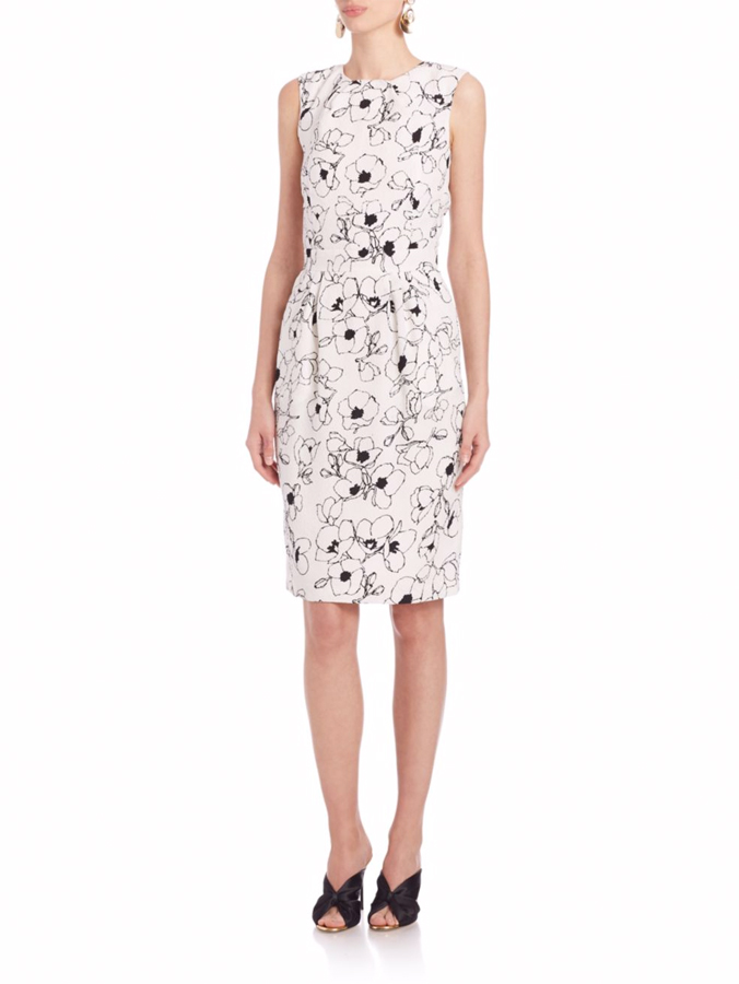 Oscar de la Renta pansy print silk dress