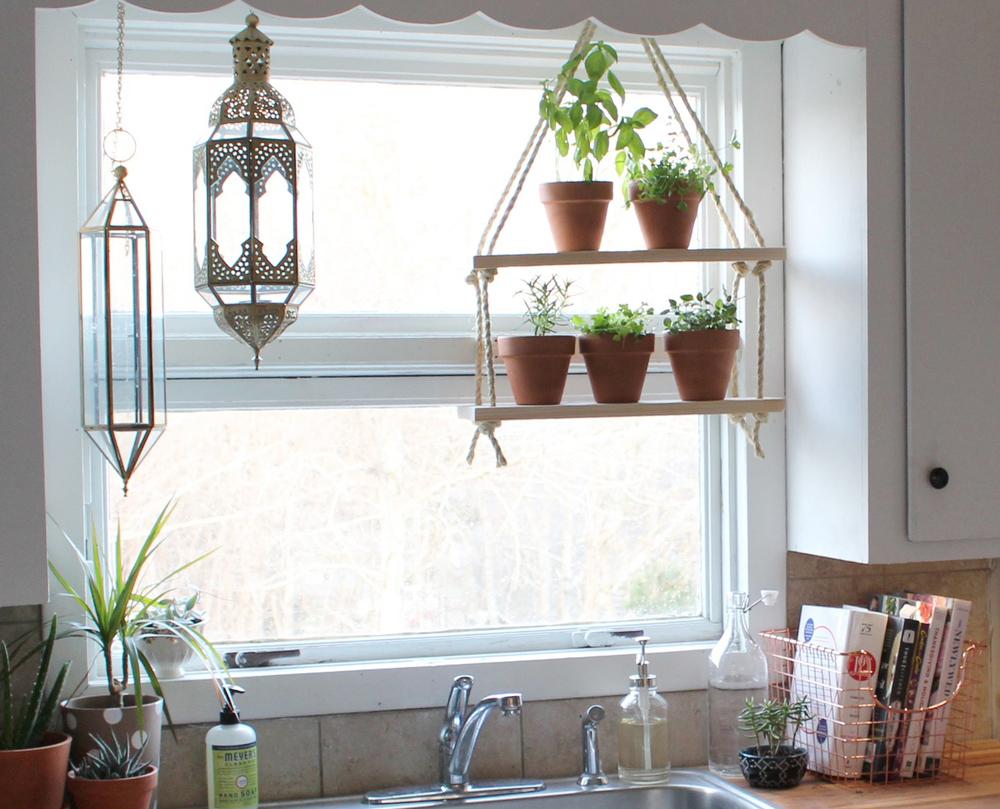 diy hanging herb shelves made by alyx rh madebyalyx com Window Shelves for Plants Kitchen Garden Window Greenhouse