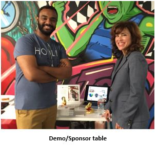 """Wendy at Founder's Floor chatting with an """"unqualified"""" candidate at a Startup event in San Francisco. Why is he unqualified? He's married! He handled rejection well. They are both smiling!"""