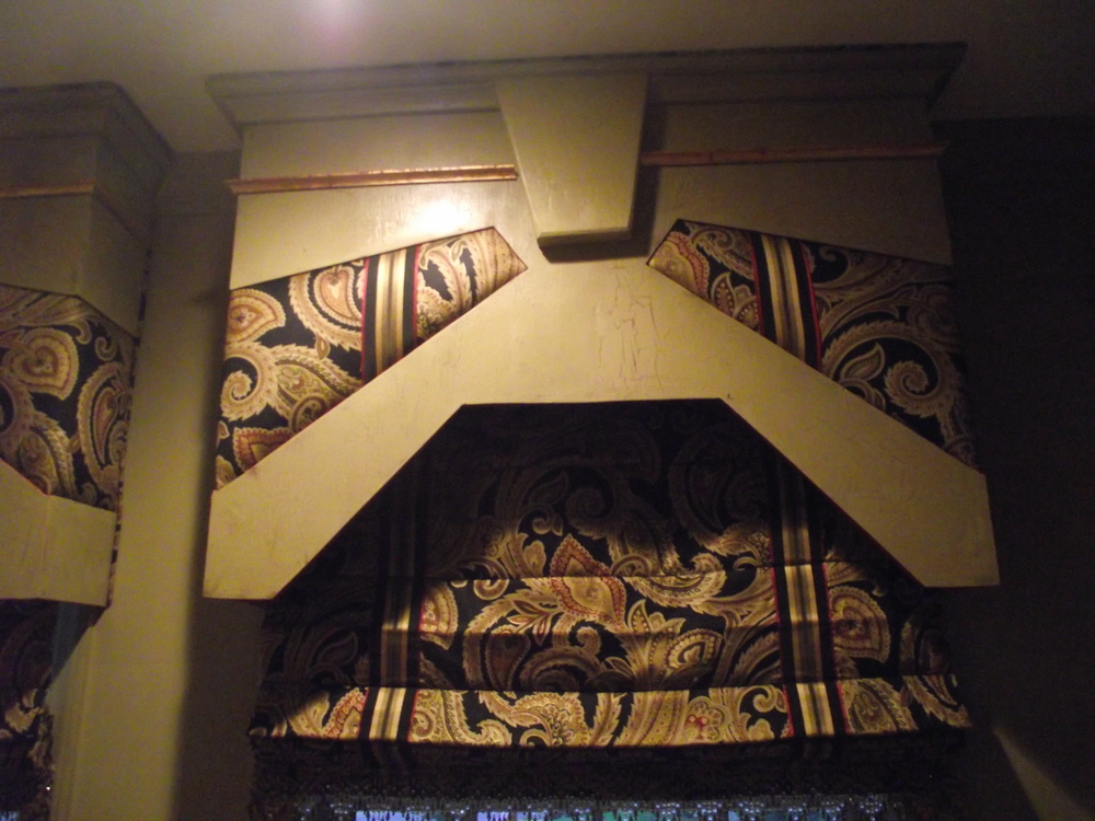 painted wood and fabric cornice