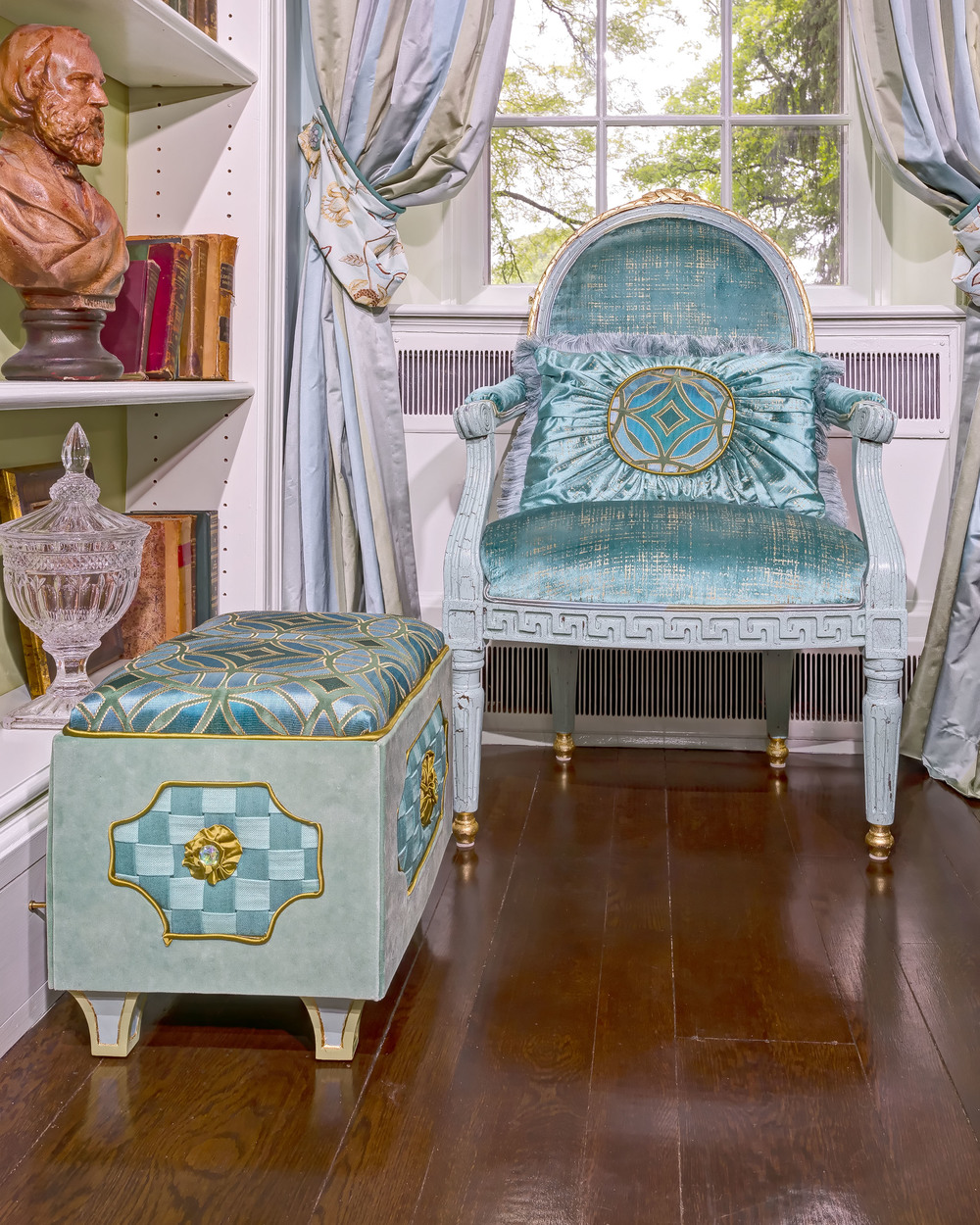 "French chair covered in Robert Allen ""Etched Velvet""  original pillow design and original designed ""Jewel Box "" ottoman"