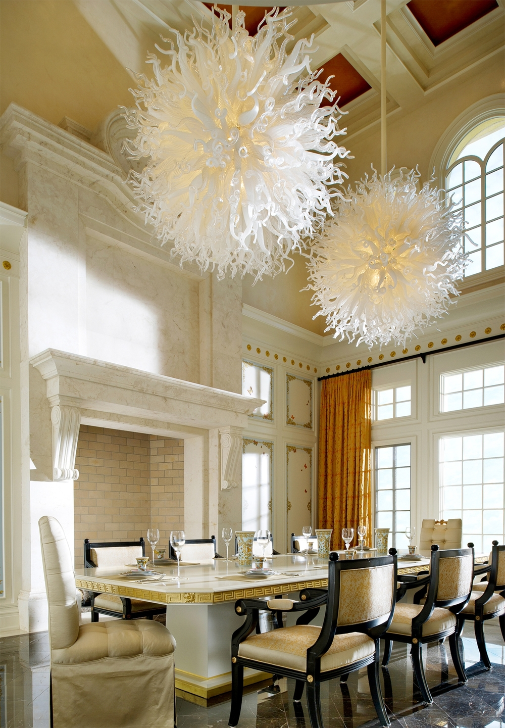 Luxury Dining Room, Blown Glass Chandeliers