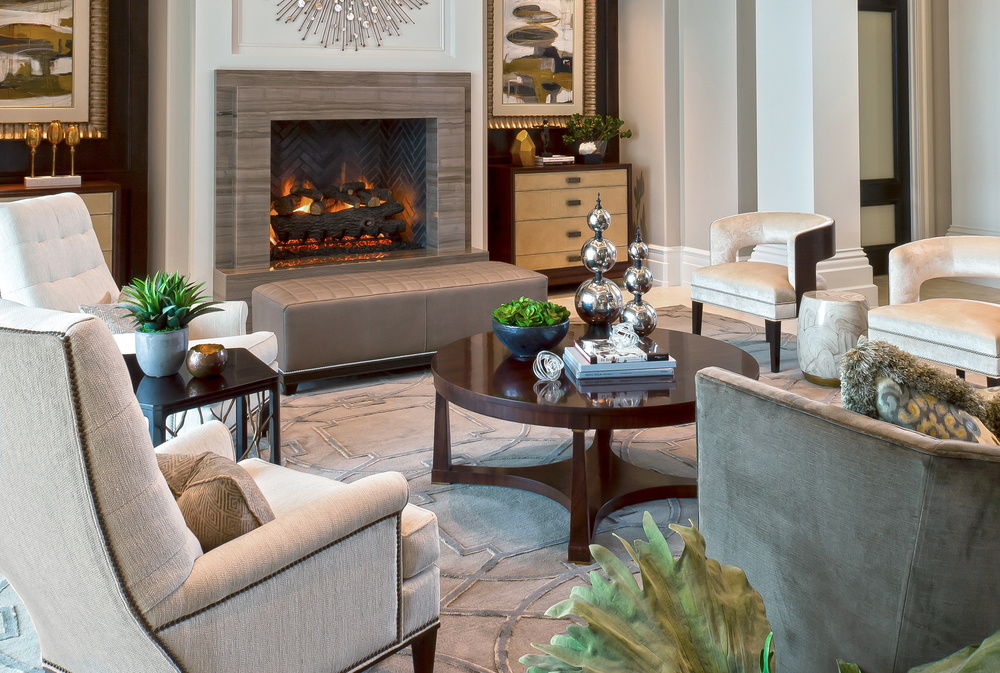 Luxury Living Room with Modern Fireplace