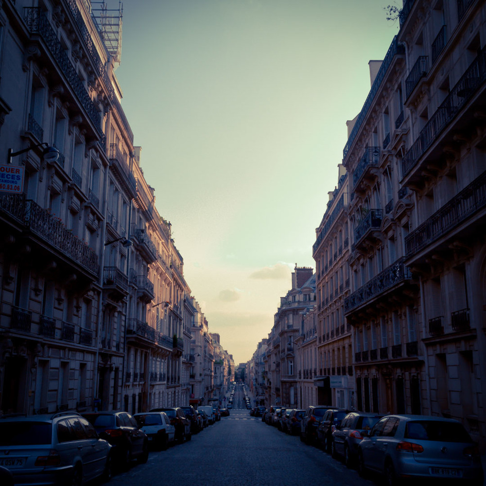 rue de monceau paris france building architecture haussmanien street car vintage purple sunset end of day.jpg