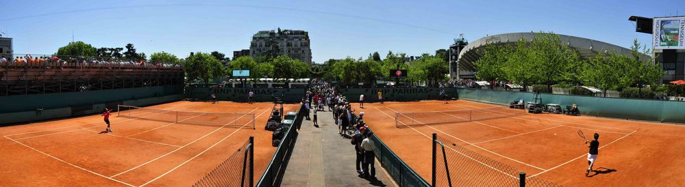 Panorama tennis paris france Roland Garros cours d'entrainements training course players terre battue.jpg
