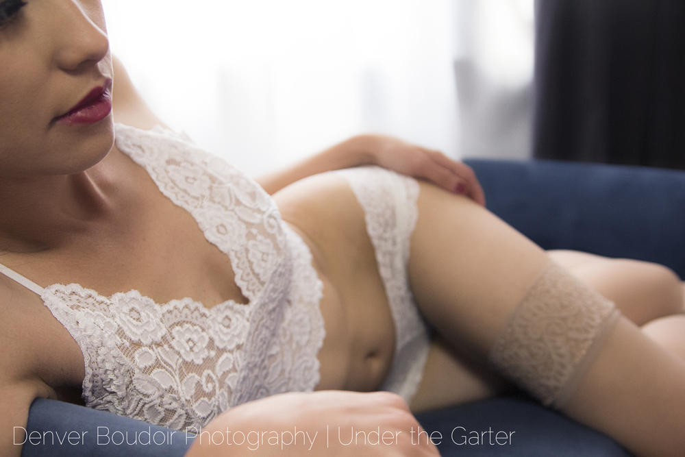 {Sofia} stuns in lace lingerie on a velvet chaise