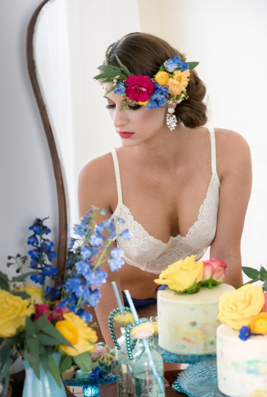 Boudoir-Photo-Denver-Bride-Flower-Crown-in-Vanity-Mirror