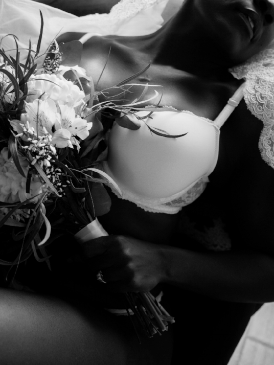 Boudoir-Photo-Denver-Bride-Reclined-with-Bouquet-in-White-Lingerie