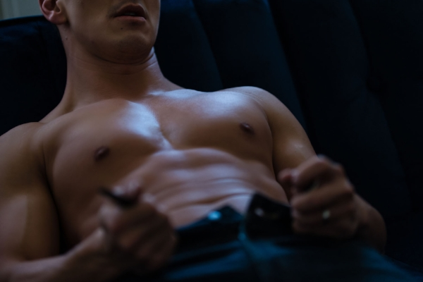 Male Boudoir Shirtless Man Unbuckles.jpg