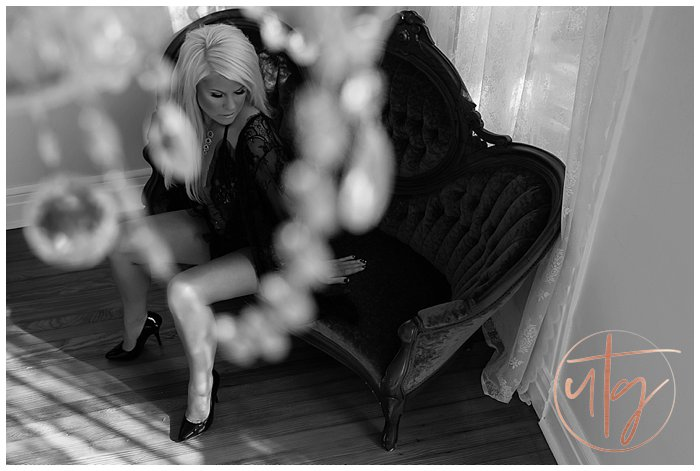 boudoir photography denver seated chaise bw.jpg