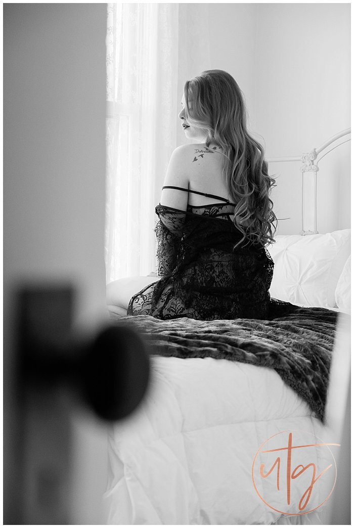 boudoir photography denver seated bw bed.jpg