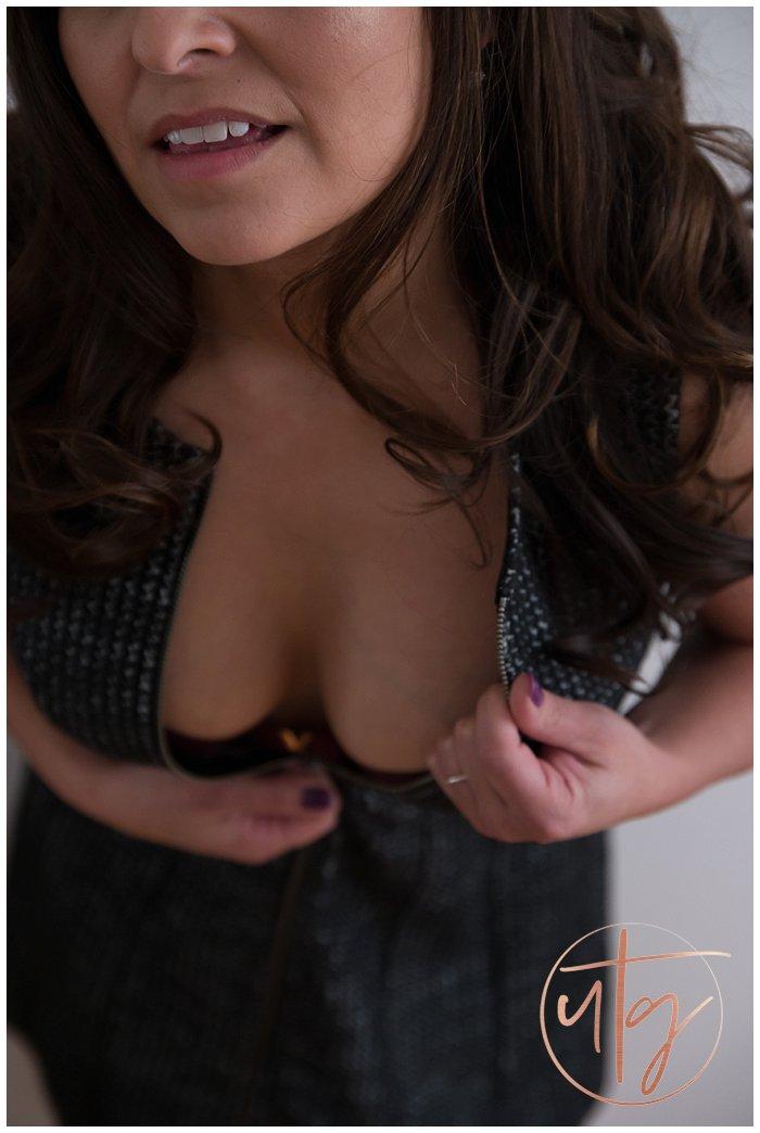 boudoir photography denver unzip dress smile.jpg