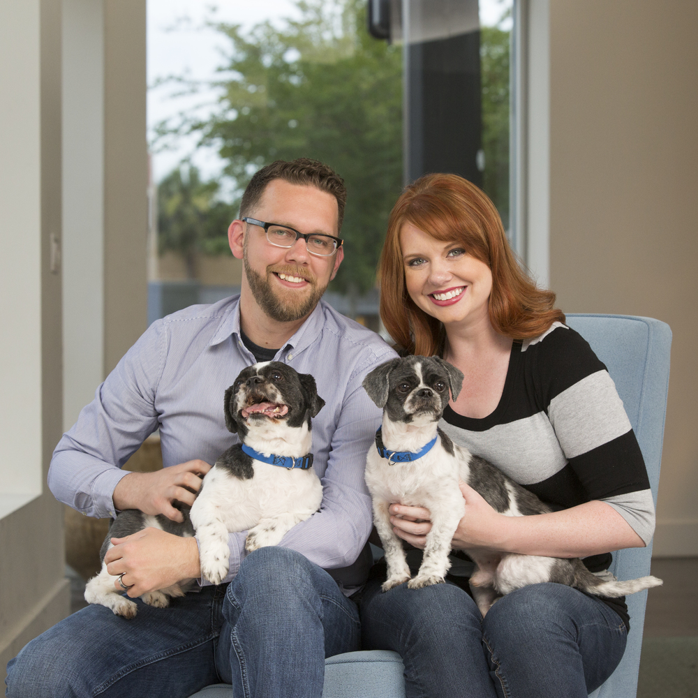 Stephanie and her husband Jim (also a designer/illustrator that will be featured later in the year), and their two dogs, Archie and Skips.