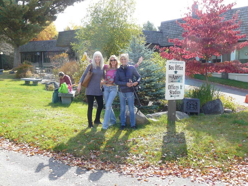 Susan Strauss (left) administrated the whole project, and Diana Frank (right) filmed the documentary, here we are outside the Lake Placid Center for the Arts