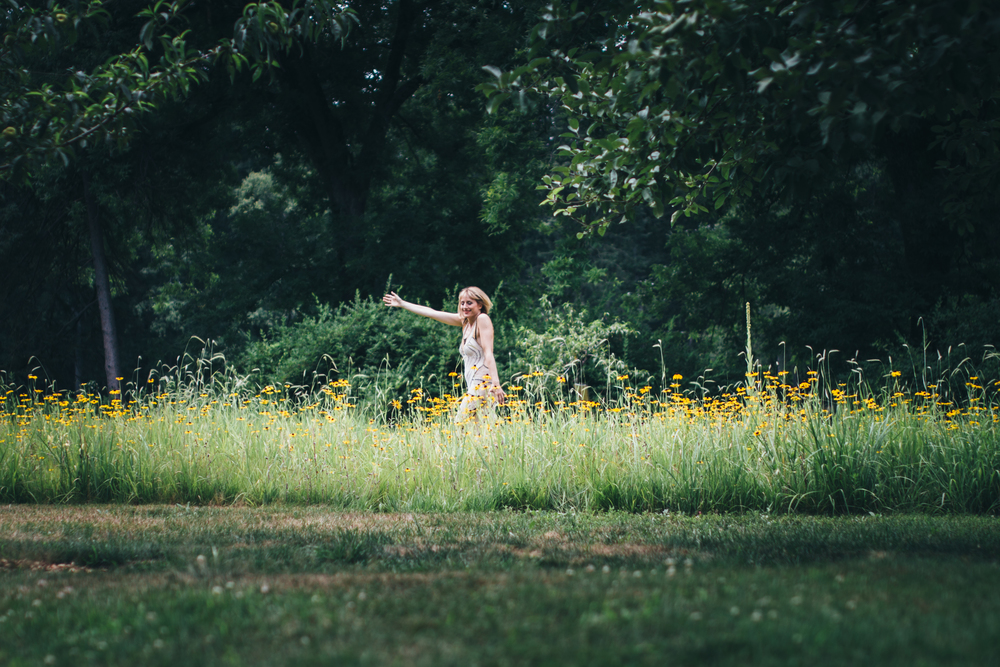 Frolicking in the black-eyed Susans wearing Susan Obrant!