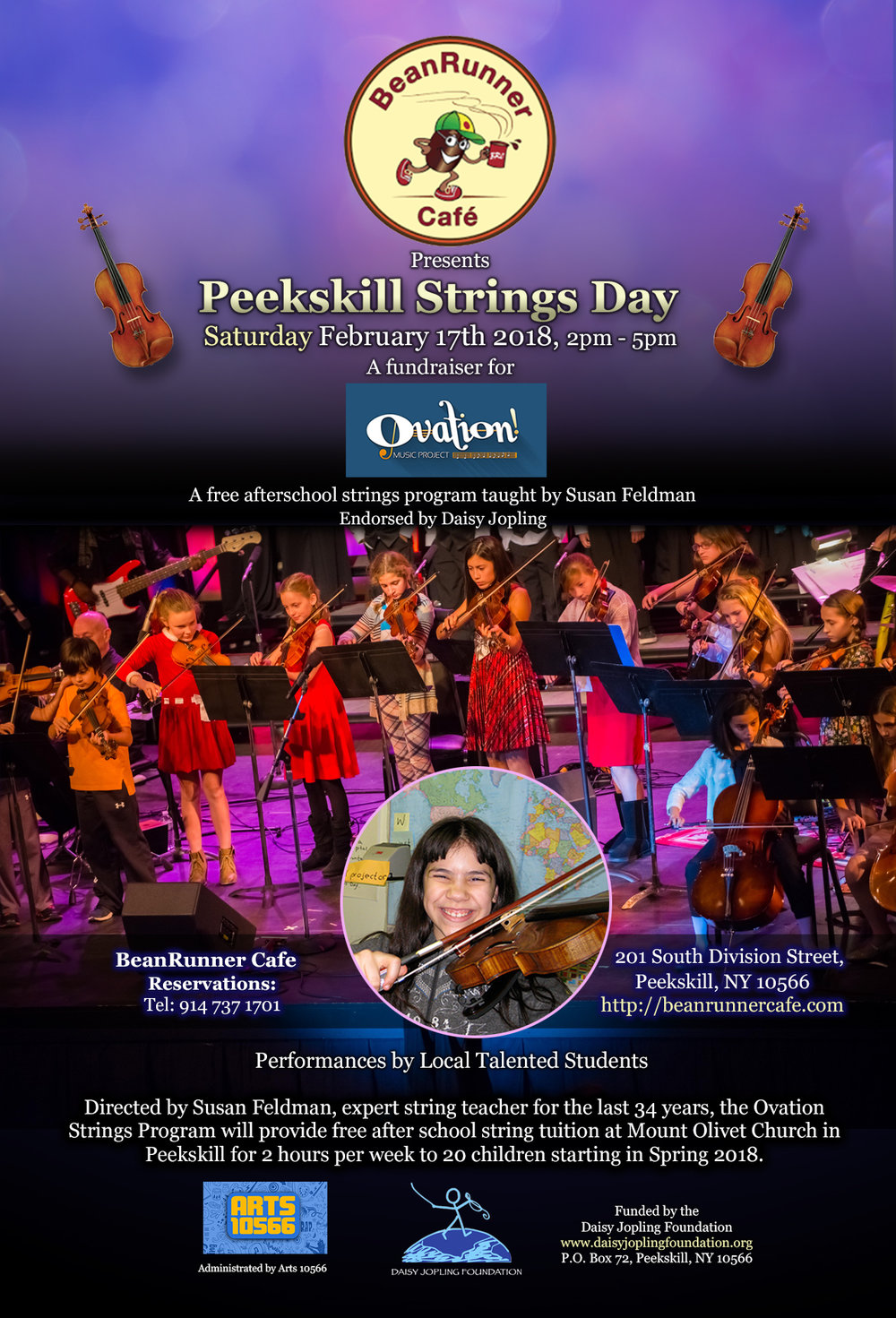 Join us at the wonderful BeanRunner cafe in Peekskill, NY to celebrate and raise funds for our new free after school strings program!
