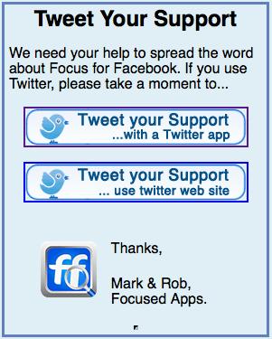 Tweet support landing page
