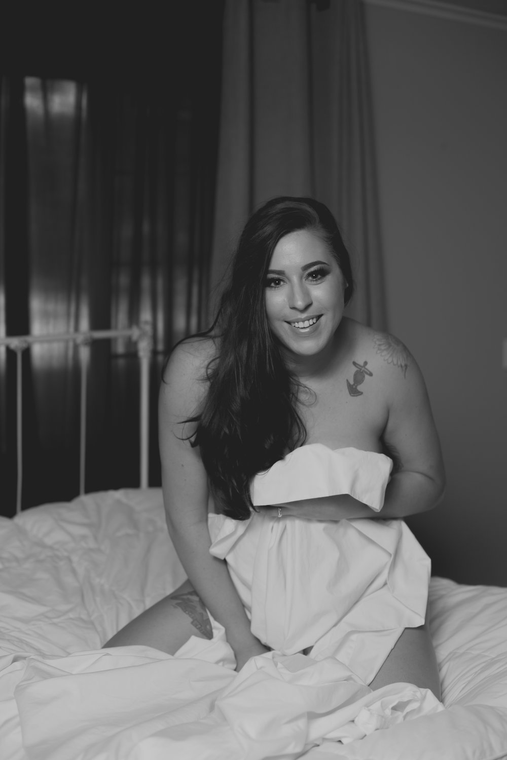 Magnolia Grace Photography | Shreveport Boudoir, Beauty, & Wedding Photographer | Bossier Boudoir & Beauty Photographer | Mrs. Swift, a White Sheet, & Tattoos | Boudoir Session Shreveport-Bossier La