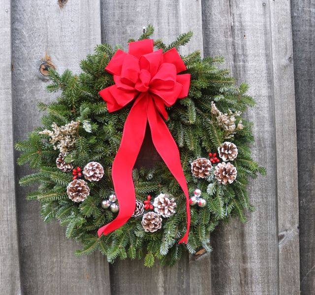 Single-sided festive wreath, $25.