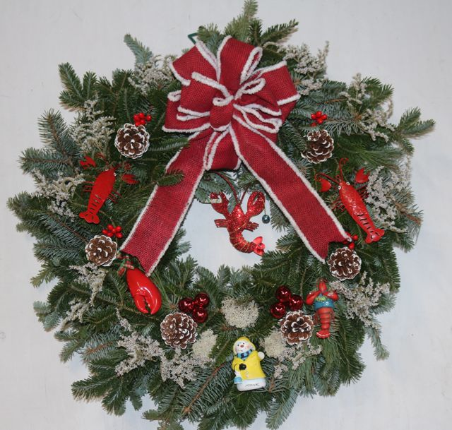 Call for custom-made wreath for your home or business (above, West Shore Seafood, Bantam, CT).
