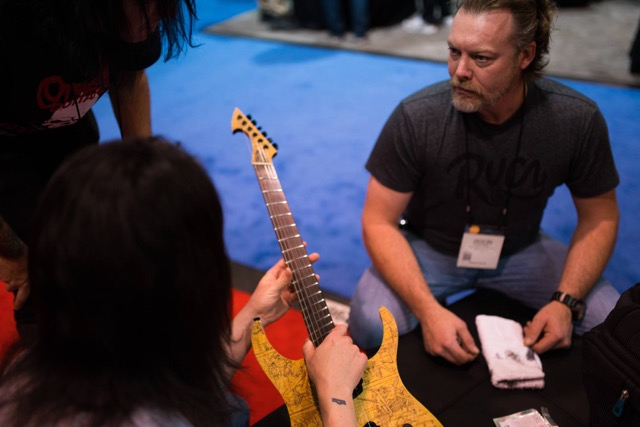 Fretboard cleaner demo - Photo by Chris Lazzaro