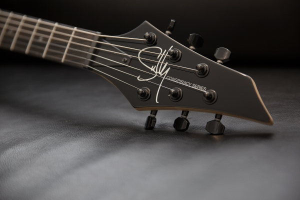 The headstocks all have the Sully logo, of course, but it's been adapted for the Conspiracy Series as you can see here