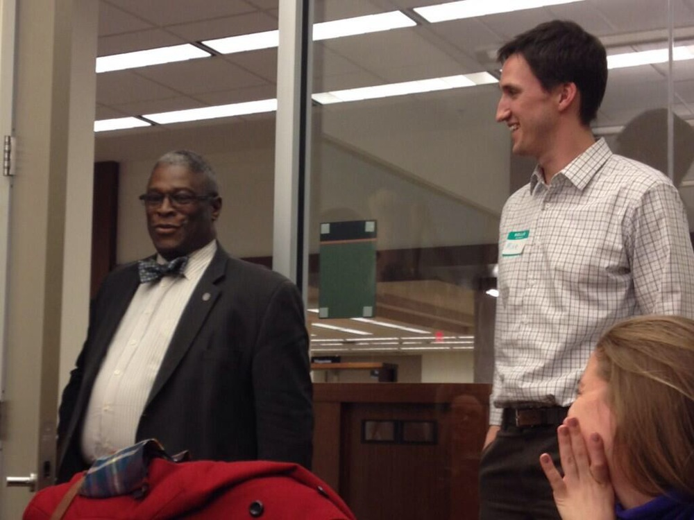 Mayor Sly James (left) and TTPKC Executive Director Mike English at DNA's February meeting.