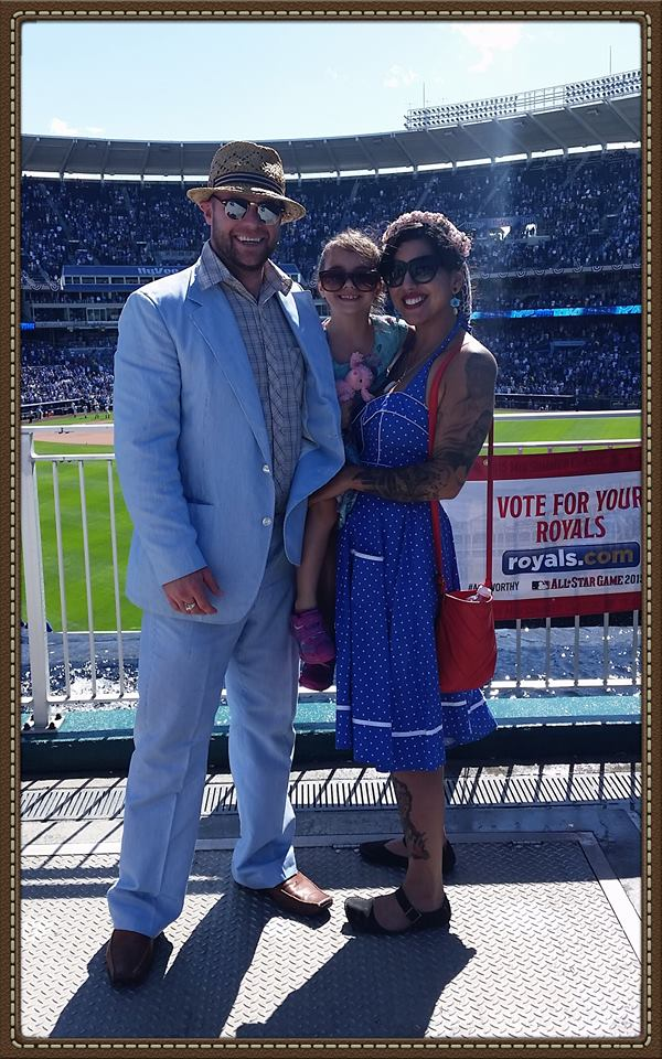 Jason Nivens and family at Kauffman Stadium for a Kansas City Royals Dressed to the Nines game.