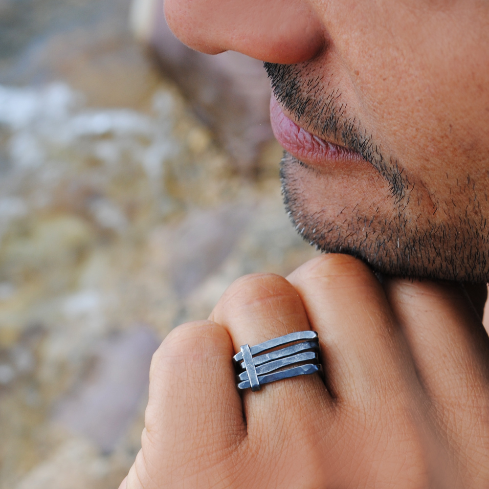 Square ring for men - sterling silver oxidised