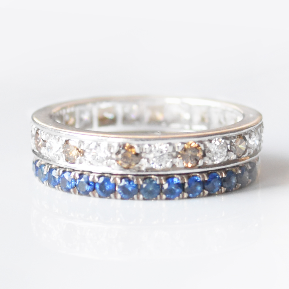 INFINITY WEDDING BANDS - CHOOSE YOUR METAL - DIAMONDS AND GEMS