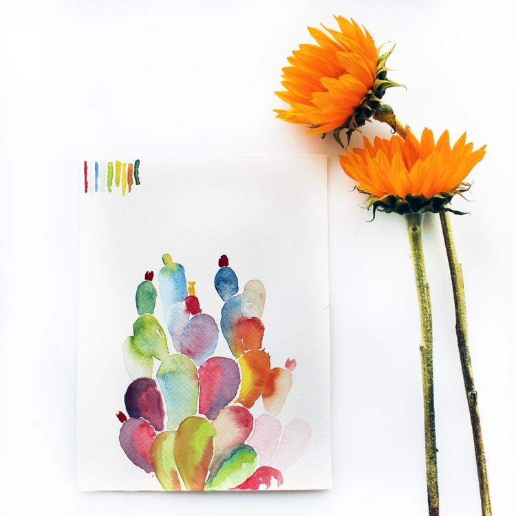 """Technicolor Cacti"" watercolor on paper, March 2015"