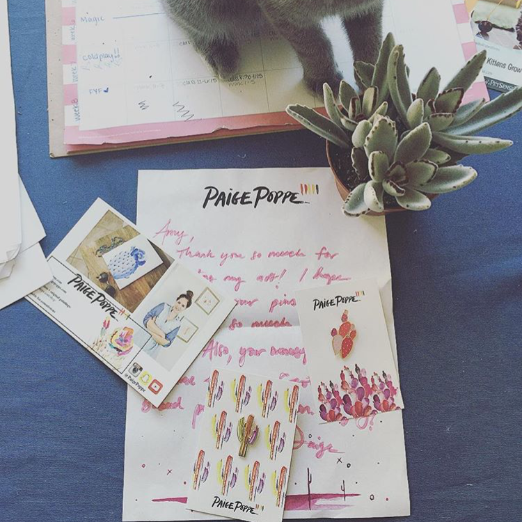 """So stoked on my new cactus pins! Little piece of home. Thanks Paige, you rock! - @waitkiss"