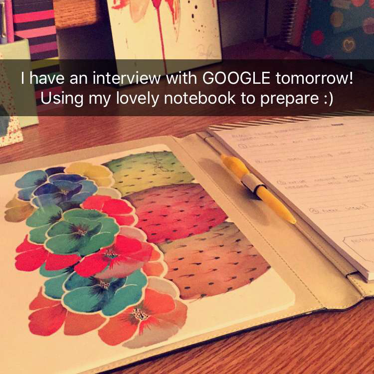 """I have an interview with Google tomorrow! Using my lovely notebook to prepare :)"" - @BrittianySmith"