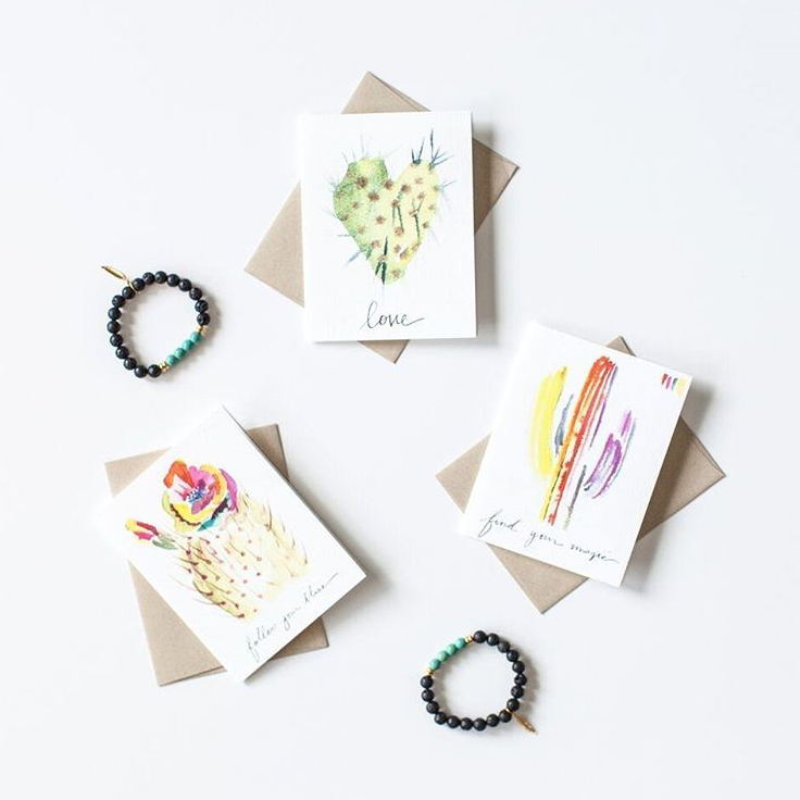 """Bracelets from @TheOnyxFeather complement Paige's gorgeous cactus cards"" - @TheSavvyExperience"