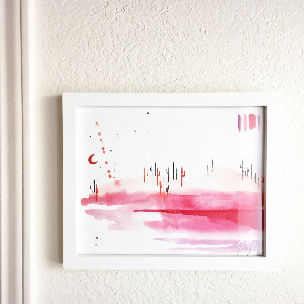 "Framed ""Cotton Candy Desert"" watercolor print - @elsabrown"